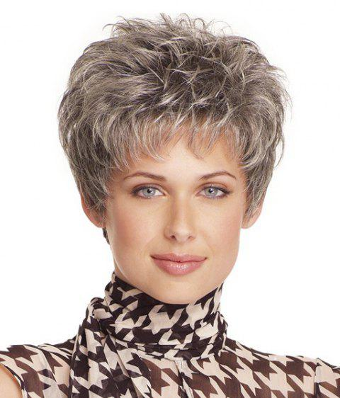 High Temperature Fiber Shaggy Curly Neat Bang Stylish Short Capless Silvery Gray Women's Wig - SILVERY GRAY