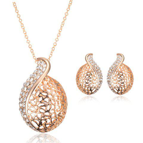A Suit of Noble Rhinestone Hollow Out Necklace and Earrings For Women - GOLDEN