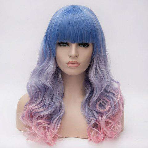 Colorful Ombre Harajuku Nobby Neat Bang Long Capless Wavy Heat Resistant Fiber Wig For Women - OMBRE 1211