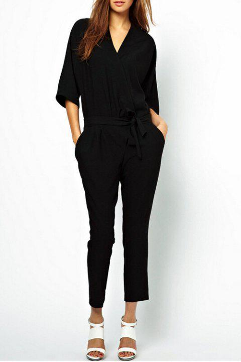 Casual V-Neck 3/4 Sleeve Pocket Design Narrow Feet Women's Black Jumpsuit - BLACK XL