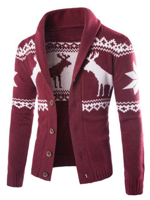 Fawn Snowflake Christmas Jacquard Button Up Cardigan - WINE RED 2XL