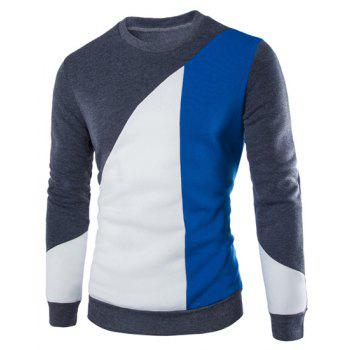Slimming Fashion Round Neck Multicolor Irregular Splicing Long Sleeve Polyester Men's Sweatshirt
