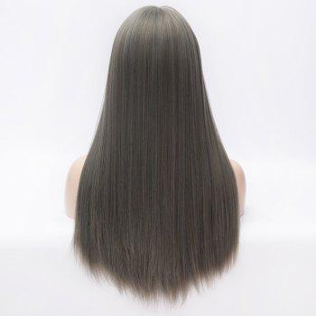 Stylish Full Bang Silky Straight Long Smoky Gray Heat Resistant Fiber Capless Daily Wig For Women - SMOKY GRAY