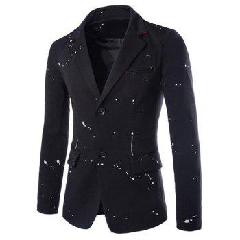 Slimming Fashion Lapel Paint Points Color Block Splicing Long Sleeve Men's Polyester Blazer