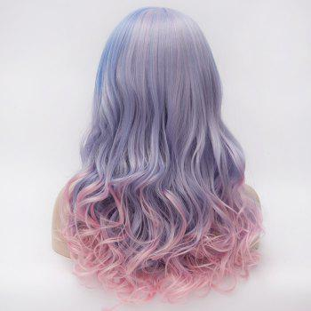 Colorful Ombre Harajuku Nobby Neat Bang Long Capless Wavy Heat Resistant Fiber Wig For Women - OMBRE