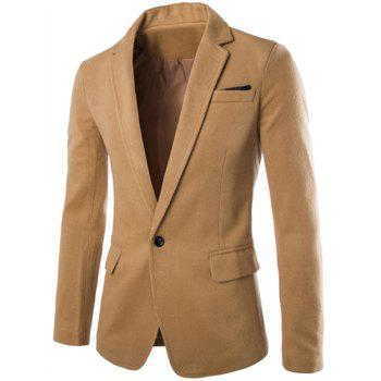 Slimming Modish Lapel One Button Pocket Design Long Sleeve Men's Woolen Blend Blazer