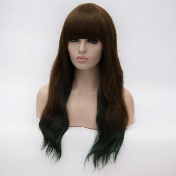 Trendy Heat Resistant Fiber Fluffy Wavy Long Full Bang Brown to Green Ombre Capless Wig For Women - GREEN / BROWN