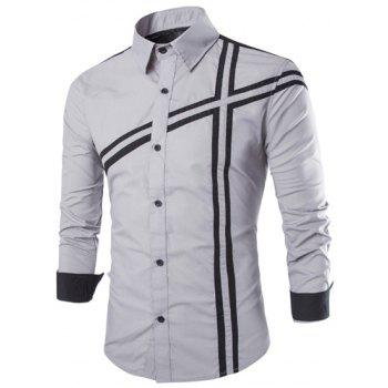 Slimming Stylish Shirt Collar Color Block Stripe Splicing Long Sleeve Polyester Men's Shirt