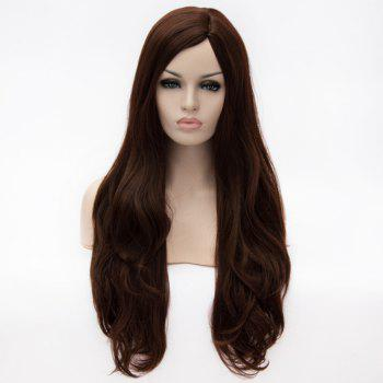Fashion Super Long Centre Parting Deep Brown Wavy Capless Heat Resitant Synthetic Wig For Women