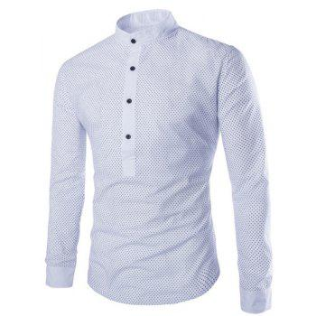Slimming Modish Stand Collar Tiny Polka Dots Print Long Sleeve Polyester Men's Shirt