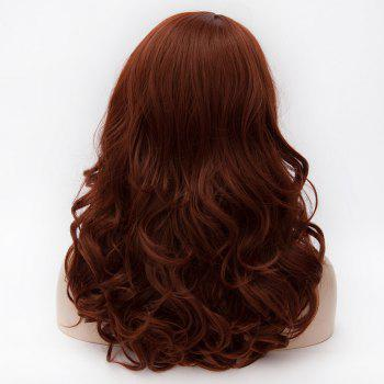 Pear Hairstyle 45CM Long Fluffy Wavy Side Bang Heat Resistant Synthetic Capless Women's Wig - DEEP RED 3