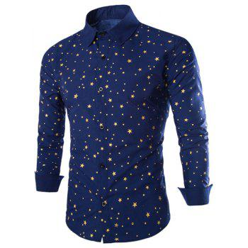 Slimming Stylish Shirt Collar Five-Point Star Print Long Sleeve Polyester Men's Shirt