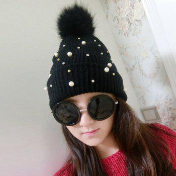 Chic Downy Ball and Faux Pearl Embellished Solid Color Women's Knitted Beanie - BLACK BLACK