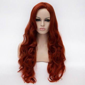 Attractive No Bang Towheaded Wavy Long Claret Heat Resistant Fiber Capless Wig For Women