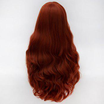 Attractive No Bang Towheaded Wavy Long Claret Heat Resistant Fiber Capless Wig For Women - RED