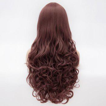 Prevailing Heat Resistant Synthetic Full Bang Purple Taro Long Curly Capless Harajuku Style Wig For Women - COFFEE