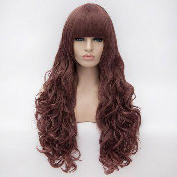 Prevailing Heat Resistant Synthetic Full Bang Purple Taro Long Curly Capless Harajuku Style Wig For Women