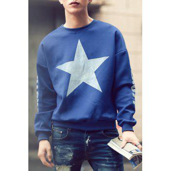 Loose Fit Trendy Round Neck Five-Point Star Pattern Long Sleeve Polyester Men's Sweatshirt