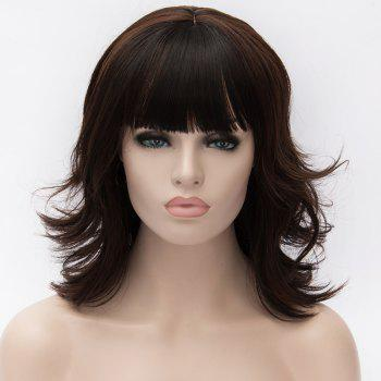 Vogue Heat Resistant Fiber Shaggy Wavy Black Mixed Brown Capless Full Bang Medium Wig For Women