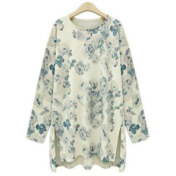 Women's Stylish Long Sleeve Scoop Neck Floral Print T-Shirt