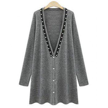 Stylish Plunging Neck Long Sleeve Beaded Loose-Fitting Women's Coat