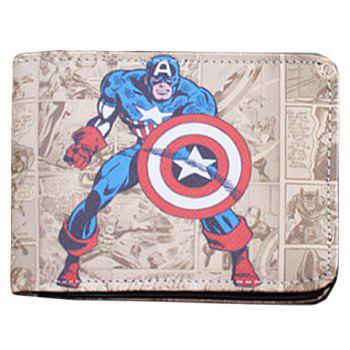 Stylish Super Hero and PU Leather Design Wallet For Men - OFF-WHITE OFF WHITE