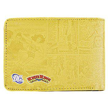 Stylish Super Hero and PU Leather Design Wallet For Men -  YELLOW