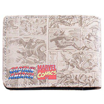 Stylish Super Hero and PU Leather Design Wallet For Men - OFF WHITE