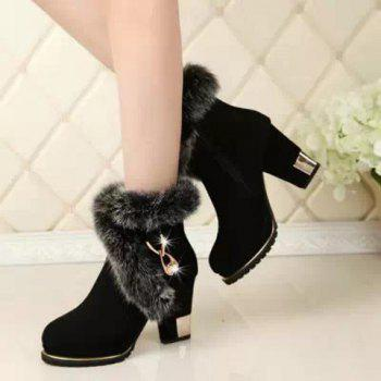 Fashionable Flock and Metallic Design Short Boots For Women - BLACK 39