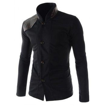 Slimming Stylish Stand Collar Color Block PU Leather Splicing Long Sleeve Polyester Men's Blazer