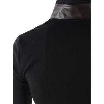 Slimming Stylish Stand Collar Color Block PU Leather Splicing Long Sleeve Polyester Men's Blazer - BLACK M