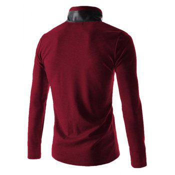 Slimming Stylish Stand Collar Color Block PU Leather Splicing Long Sleeve Polyester Men's Blazer - WINE RED WINE RED