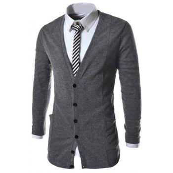 Slimming Trendy V-Neck Pocket Design Single Breasted Long Sleeve Polyester Men's Cardigan