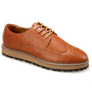 Buy Stylish Round Toe PU Leather Design Formal Shoes Men BROWN