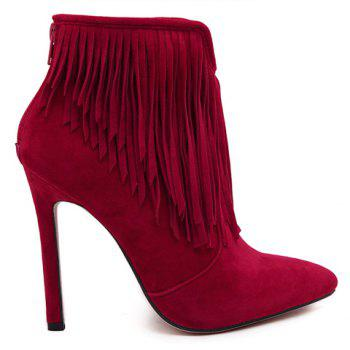 Sexy Suede and Fringe Design Ankle Boots For Women - RED 39