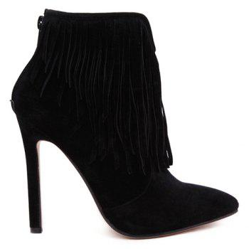 Sexy Suede and Fringe Design Ankle Boots For Women - BLACK 39