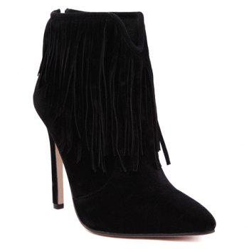 Sexy Suede and Fringe Design Ankle Boots For Women