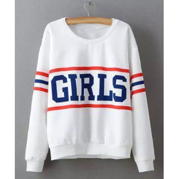 Casual Round Collar Long Sleeve Loose Fitting Letter Print Women's Sweatshirt - WHITE S