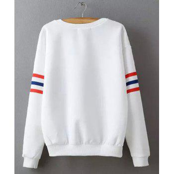 Casual col rond manches longues en vrac Lettre Fitting Imprimer Pull Femme - Blanc S