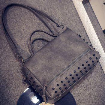 Stylish PU Leather and Rivets Design Solid Color Tote Bag For Women - GRAY