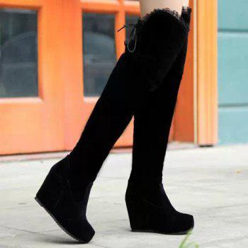 Sexy Suede and Lace Design Thigh Boots For Women - BLACK 39