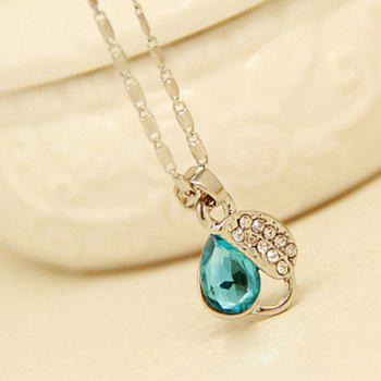 Chic Rhinestone Leaf Waterdrop Pendant Necklace For Women