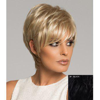 Graceful Assorted Color Side Bang Capless Short Real Natural Hair Straight Wig For Women - BLACK 02# BLACK