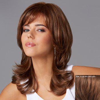 Charming Long Shaggy Wavy Inclined Bang Human Hair Capless Wig For Women