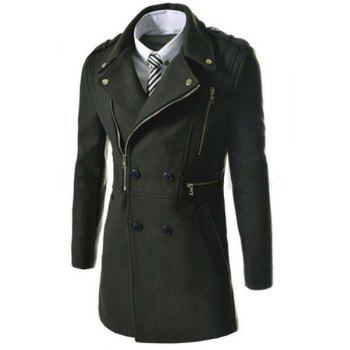 Elegant Fake Belt Inclined Top Fly Multi-Zipper Epaulet Design Slimming Lapel Long Sleeves Men's Peacoat