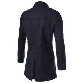 Elegant Fake Belt Inclined Top Fly Multi-Zipper Epaulet Design Slimming Lapel Long Sleeves Men's Peacoat - CADETBLUE L