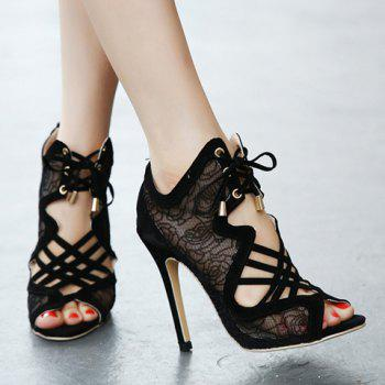 Sexy Flowers Pattern and Hollow Out Design Peep Toe Shoes For Women - BLACK BLACK