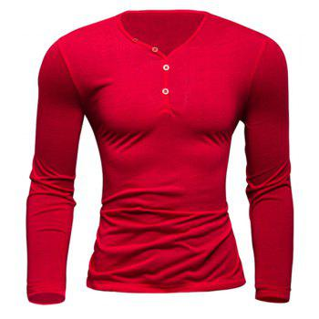 Simple Style V-Neck Single-Breasted Solid Color Slimming Men's Long Sleeves T-Shirt