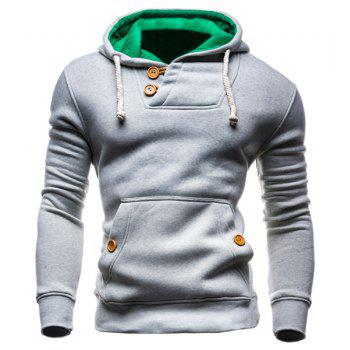 IZZUMI Slimming Hooded Single-Breasted Front Pocket Applique Design Long Sleeves Hoodie For Men