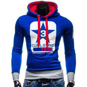Trendy Slimming Hooded Color Block Letters Star Print Applique Design Men's Long Sleeves Hoodie
